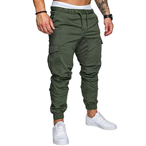 lexiart Mens Fashion Joggers Sports Pants - Cotton Cargo Pants Sweatpants Trousers Mens Long Pants ArmyGreen XXL