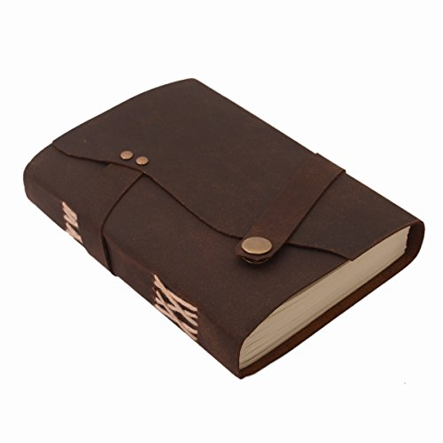 Purpledip Leather Journal Paper In Oil Pull-up Leather Cover Button Strap