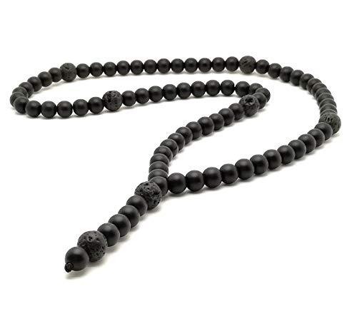 Halskette Y-Kette Rosenkranz Onyx perlen 8mm Lava 10mm für Herren Schmuck Männer Damen Frauen schwarz kette ohne Anhänger Perlenkette Buddha Amulett
