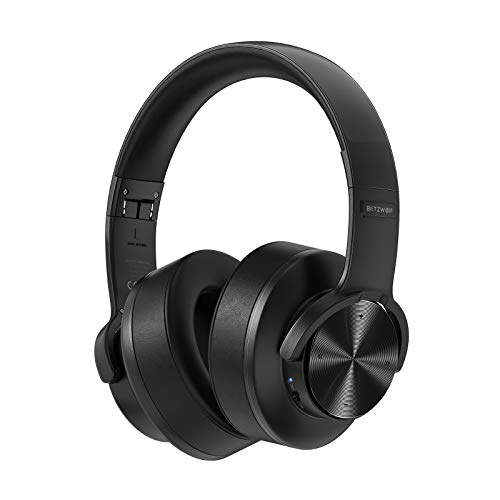 Bluetooth Headphones, BlitzWolf Wireless Headphones Over Ear 1000mAh 50mm Driver Bluetooth & Wired Headphones Touch Control Foldable Gaming Headset with Microphone for Cellphone PC - Black