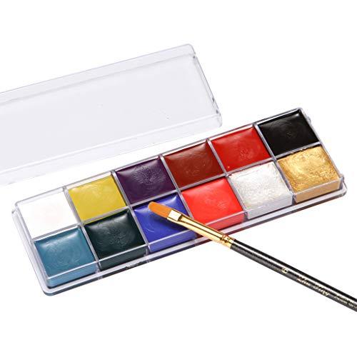 Corps Peinture Pigment huile, Fulltime 12 couleurs cosmétiques visage corps peinture ensemble, Art thème fête, Halloween, fantaisie robe partie maquillage outil