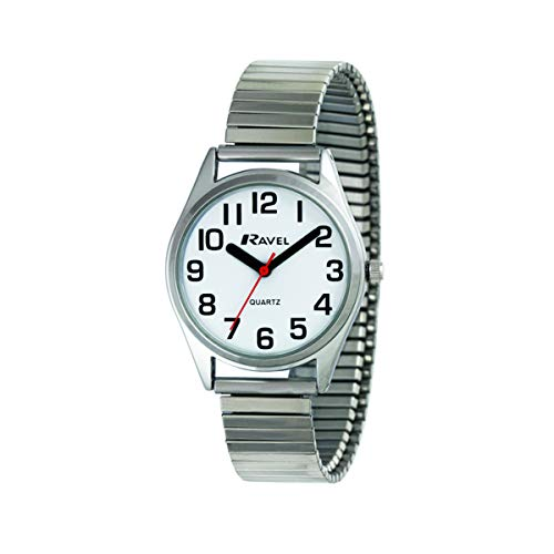 Ravel - Unisex super audace vista super audace aiuto bracciale in acciaio inossidabile bracciale expander orologio con grandi numeri e lancette - argento tono/quadrante bianco