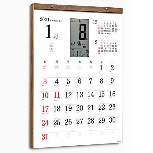 日めくり電波時計と紙のカレンダーがひとつになった【2021年 6ヶ月版 スマートカレンダー 軽量タイプ】(シンプル)大判サイズ