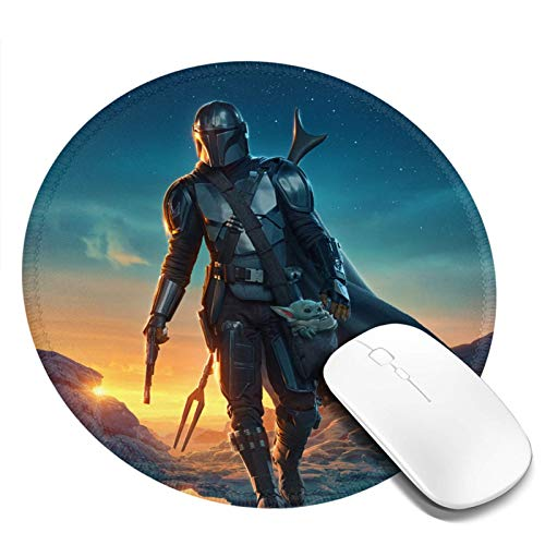 Mand-alorian Baby Yo-da Mousepad Laptop Round Gaming Mouse Pad Waterproof Non-Slip Mouse Pads Premium for Office Family Games 7.9x7.9 Inch