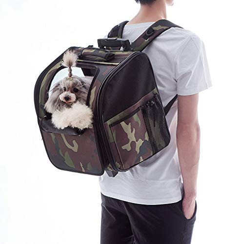 JXLBB Camouflage Trolley Pet Trolley Bag Cat Dog Sac à emporter Universel Fournitures pour Animaux de Compagnie Chariot Vert Cendré (Color : Green)