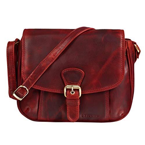 STILORD 'Violeta' Leder Umhängetasche Damen Vintage Handtasche klein Schultertasche Abendtasche Partytasche Freizeittasche Echtleder, Farbe:Kara - rot