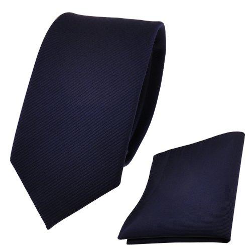TigerTie Schmale Designer Krawatte + Einstecktuch blau dunkelblau royal Uni Rips - Binder Tuch
