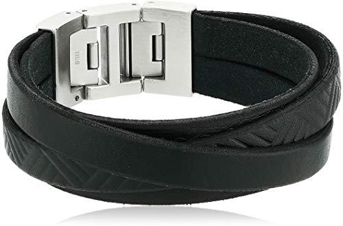 Fossil Men's Leather Bracelet, Color: Black (Model: JF02998040)