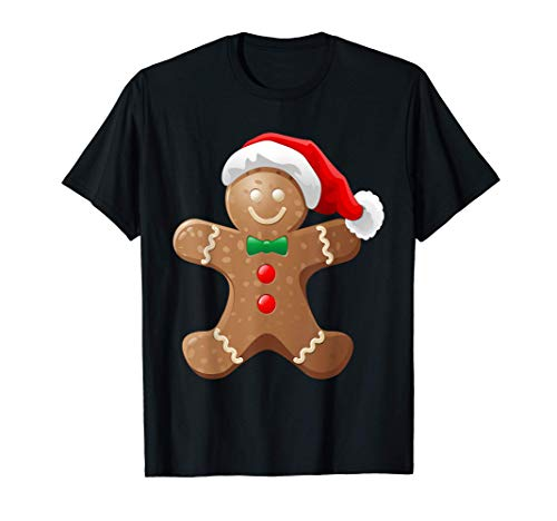 Gingerbread Man Cookie With Santa Claus Hat Christmas T-Shirt