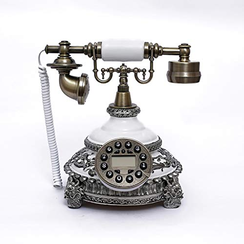 gujiu China red Vintage Retro Phone mysterious Antique Landline Phone Updated Version Classic Resin Phone with LCD Display Electronic Calendar No Batteries Required (Color : White)