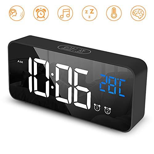 Ohiyoo Digitaler Wecker, Tragbarer Spiegelalarm mit Dual Alarm Snooze Zeit 4 Stufen Einstellbarer Helligkeitsdimmer 13 Musik USB Ladeanschluss Nachttisch Schlafzimmer.