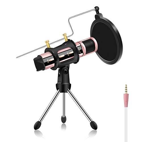 Microfono di registrazione smartphone 3.5 mm mini microfono portatile 5.5*1.2*1.2 inches Oro rosa 3,5 mm.