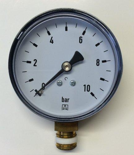"""Manometer, Anschluß unten Gewinde 1/4\"""" Druckmesser z.B. für Druckminderer, Wasserfilter, Druckanzeiger, Druckanzeige"""