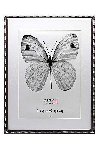 CHELY INTERMARKET, Marcos de Fotos 13x18 cm(Medida paspartú 9x13 cm) Plateado Mod-3325 (Bañado en Plata con Textura puntuado en el Borde)| Estilo galería | Fotografías de Bodas