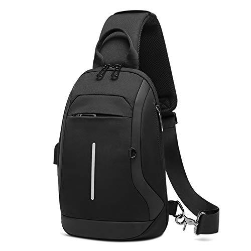 Adlereyire Sling Bag Fashion Chest Shoulder Backpack Crossbody Bag Ideal for Men Women Lightweight Outdoor Sports Travel Hiking (Color : Black, Size : 20 * 11 * 29cm)