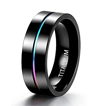 TIGRADE 5mm 7mm Rainbow Titanium Ring Colorful Thin Groove Wedding Band Couple Rings Size 5-13 7mm Size 10