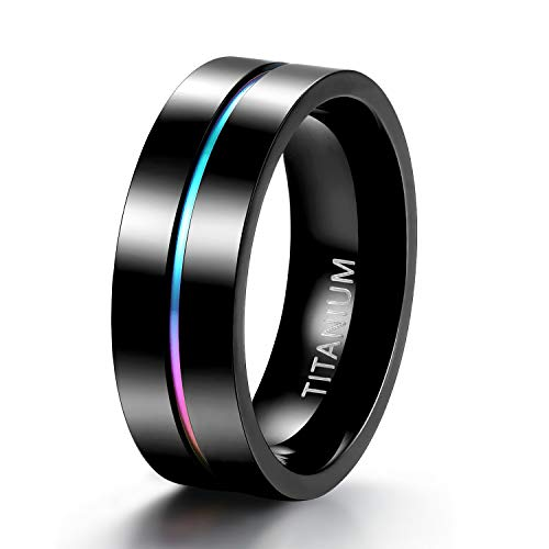 TIGRADE 5mm 7mm Rainbow Titanium Ring Colorful Thin...