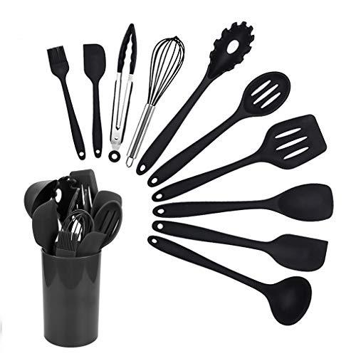 Kitchen Utensils Set, Tuilful Silicone Heat-Resistant Cooking Utensils Set, Nonstick Dishwasher Safe Cooking Tools 11 Pieces, Kitchen Utensil Gadgets Set for Gift - Black