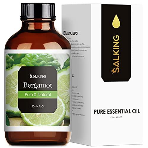 Bergamotto Olio Essenziale 120ml, SALKING 100% Puro e Naturale Olio Essenziale per Diffusori, Naturali Oli Essenziali per Aromaterapia e Massaggi, Olio Profumato per Candele