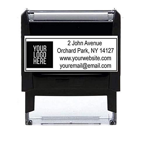10+ Designs !! Large Logo Self-Inking Stamp 3 Lines or 4 Lines for Your Address, Website Phone Number Stamp or Message Black Ink Stamper/ Black Red Blue Green Purple Ink Logo Stamp
