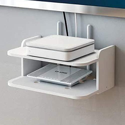 DGDF Soporte de TV montado en la pared, estante de almacenamiento de medios móviles, utilizado para caja de cable/enrutador/controles remotos/reproductores de DVD/consolas de juegos