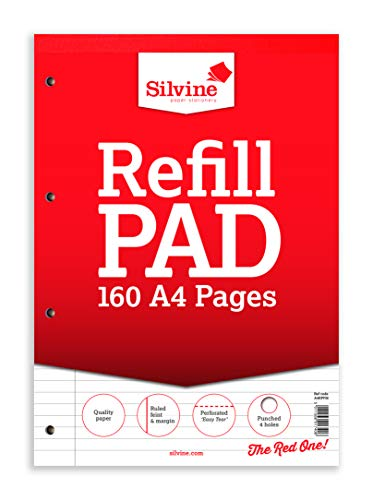 Silvine Réf A4RPFM Bloc de cours Reliure en-tête Ligné avec marge, perforé 160 pages 75 g/m² A4 Lot de 6 (Import Royaume Uni)