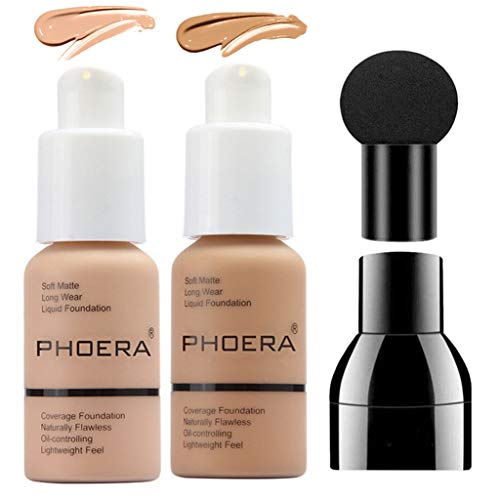 PHOERA Foundation Makeup Set, Firstfly Matte Oil Control Concealer Foundation Cream, Long Lasting Waterproof Matte Liquid Foundation with Mushroon Head(103&105)