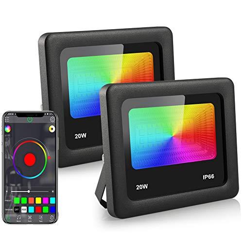 20W RGBW Strahler, ZOTO LED Fluter with Bluetooth APP-Steuerung, 16 Million Farben/3 Weißlichtmodi+27 Modi, IP66 Wasserdicht und Zeit LED Flutlicht, Musiksteuerung, für Innen Außen Garten(2Pack)