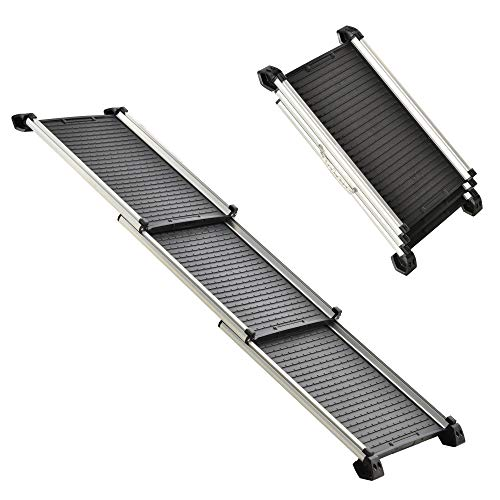 PawHut 28' - 62.5' Telescoping Dog & Pet Ramp with Lightweight Aluminum Design & Anti-Skid Surface for Elderly Pets