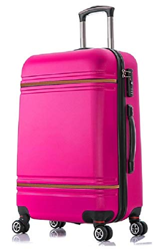 Starlite Luggage ABS147 Hard Shell Suitcase 4 Wheel Spinner (Cabin, Pink)