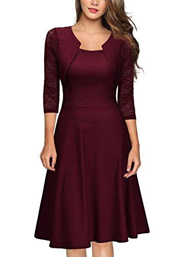 MIUSOL Damen Abendkleid Elegant Cocktailkleid Vintage Kleider 3/4 Arm mit Spitzen Knielang Party Kleid Weinrot L