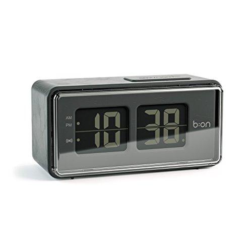 balvi B:ON-FlipDigital-Flip-Stil Wecker. LCD-Bildschirm reproduziert die Bewegung eines Flip Uhr. Schwarze Farbe.