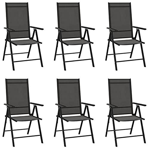 Festnight Juego de Aluminio 6 Sillas de Jardín Plegable con Reposabrazos - Negro