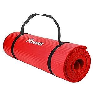 REEHUT Colchoneta de Yoga de NBR de Alta Densidad y Extra Gruesa de 12mm Diseñada para Pilates, Fitness y Entrenamiento - con Correa de Hombro 180cm x 61cm(Rojo)