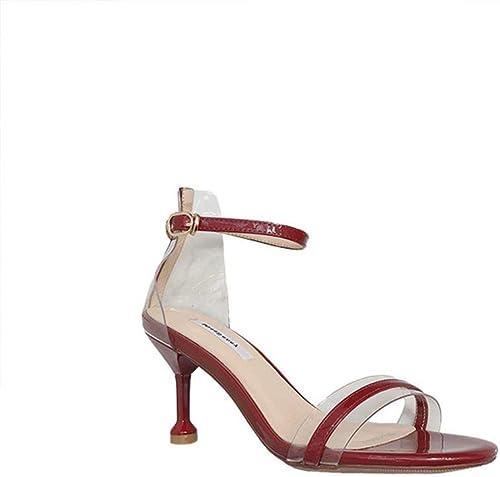 BAACHANG Ceinture Transparente Transparente Transparente Sandales Transparentes Creuses Chaussures à Talon Aiguille Femmes Sauvages Boucle Sandales à Talons Hauts (Couleur   rouge, Taille   38) b01