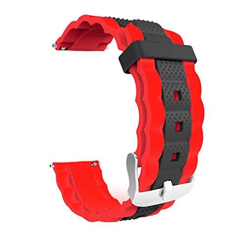 KingbeefLIU Correa De Reloj Correa De Reloj De Silicona Deportiva Ajustable De 20 Mm Correa De Reloj para Xiaomi-Mibro Air Negro Rojo