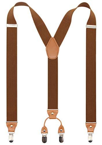 Men's Y-Back 4 Metal Clip Elastic Wide Suspenders Perfect For Both Casual&Formal (Coffe)