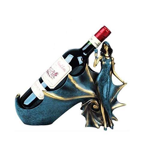 Meyeye ZHOU.D.1 Wijnrek - Europese Desktop Wijnflessenrek Smeedijzer Creatieve Wijnrek Decoratie Woonkamer Decoratie Ornamenten Kan Houd 1 Fles Combinatie 2 Set (Kleur : Blauw)