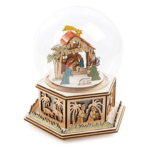 Small Foot 11389 Campana Luminosa Presepe Con Carillon, In Legno, Con Luce E Melodia Natalizia Illuminazione, Multicolore