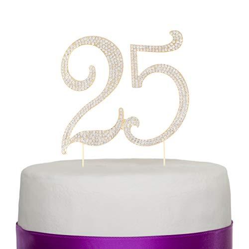 Kuchendekoration mit der Nummer 25 in goldener Farbe für den 25 zigsten Geburtstag oder als Dekoration für eines Jahrestag wie der goldenen Hochzeit