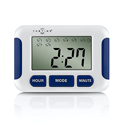 TabTime Timer (mit deutscher Anleitung), Pillenerinnerung, Medikamenten-Uhr/ Wecker mit 8 Alarmen pro Tag, essentiell für Parkinson-Patienten