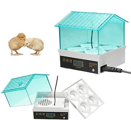 CARLAMPCR Inkubator, Vollautomatische Brutmaschine, Motorbrüter Hühner, Eier Inkubator Automatisch mit Effizienter LED Beleuchtung,Inkubator Brutkasten Motorbrüter Brutmaschine Hühner,4 Hühnerei