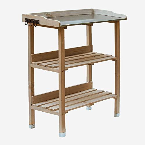 RM Design Pflanztisch Holz Zinkplatte Gartentisch Pflanzregal wetterfest für Außenbereiche (Natur) 76x38x91 cm