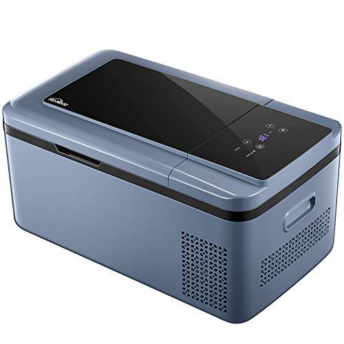 Kealive Kompressor-Kühlbox Tragbare Elektrische Kühlbox/Gefrierbox(-25 °C bis 20 °C) für Normal- und Tiefkühlung, 18 Liter LCD-Display mit 12 V und 230 V für Auto, LKW und Steckdose, Eco & HH-Modus