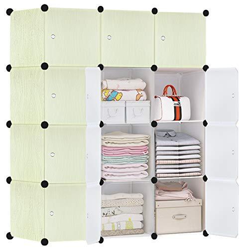 HENGMEI DIY Kleiderschrank Garderobenschrank Steckregalsystem Regalsystem 12 -Kubus Ordnungssystem Schuhschrank Kleiderschrank mit Tür (Holz B)