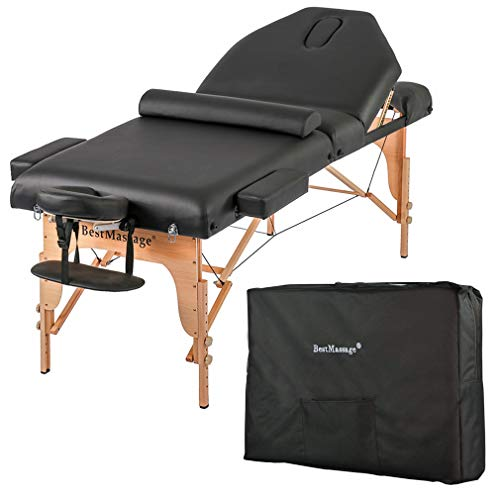 """BestMassage Professiona 4"""" Pad Portable Reiki Portable Massage Table w/ 77"""" Long Solid Bedframe"""
