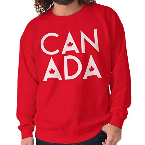 Canada Maple Leaf Flag Patriotic Canadian Crewneck Sweatshirt Red