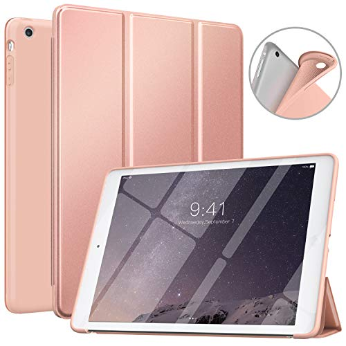 MoKo Funda Compatible con iPad Air, Superior Delgada Protectora Case con Tapa Trasera Esmerilada Translúcida Compatible con iPad Air 9.7  - Oro Rosa