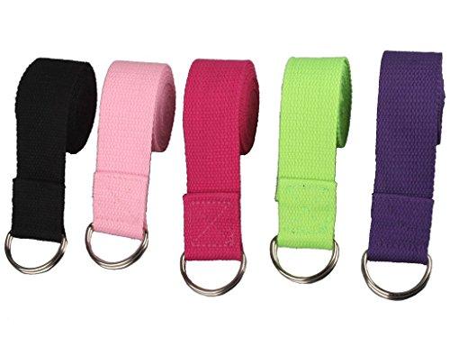 westeng 1pieza larga amplio Yoga estiramiento correa cinturón para entrenamiento Fitness–Anilla de algodón Cinturón de yoga color al azar