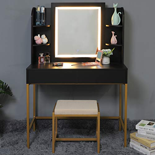 usikey Vanity Table Set with Lighted Mirror, Makeup Table with 4 Storage Shelves & 2 Drawers, Dressing Vanity Tables with Cushioned Stool, Dresser Desk for Girls, Women, Black